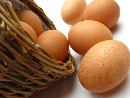 boiled eggs: easter eggs in basket Stock Photo
