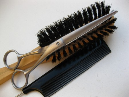 clippers comb: Hairdressers equipment Stock Photo