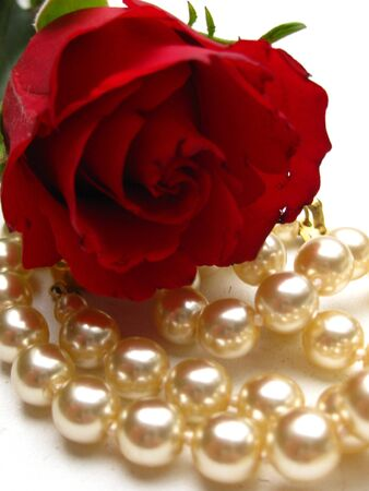 Pearls and rose Stock Photo - 4254663