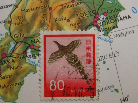 stamp on vintage map from Japan