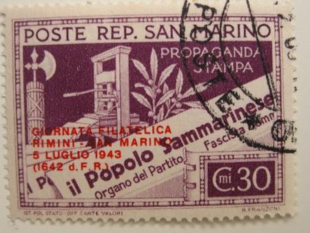 varied: Vintage stamp of San Marino