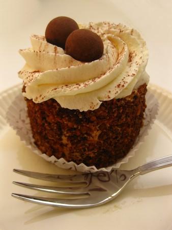 shoppe: Mocca cake with chocolate decorations Stock Photo