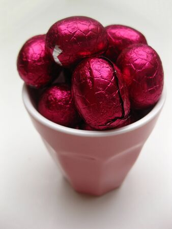 pink chocolate easter eggs photo