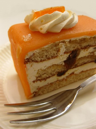 marzipan: orange marzipan liquor cake Stock Photo