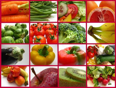 verdure: frutta e verdure - mixed fruits and vegetables Stock Photo