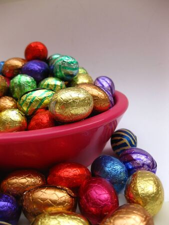 easter eggs in pink bowl photo