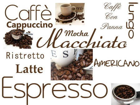 macchiato: Coffee greeting card Stock Photo