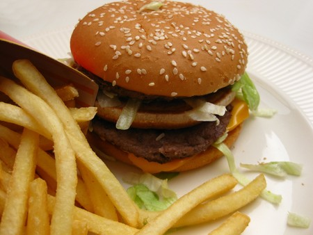 Burger and french fries photo