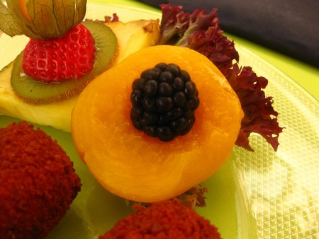 Fruit decoration on a plate photo