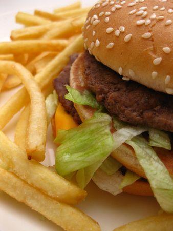 papas fritas: Hamburguesa y papas fritas franc�s Foto de archivo