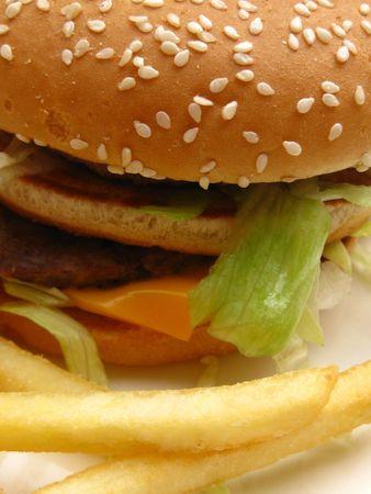 Hamburger in close up photo