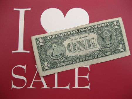 I love sale, one dollar note photo