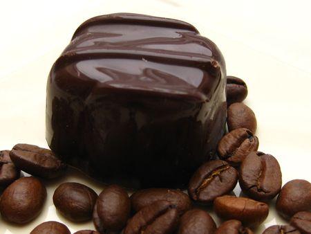 belgium chocolate praline with coffee beans photo
