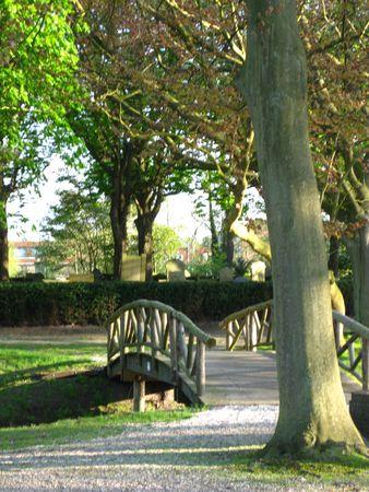 crematorium: Wooden bridge on cemetery