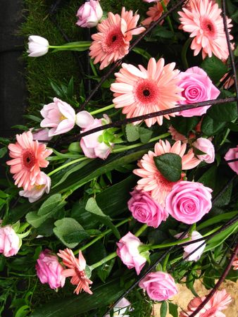 pink flower arrangement on flower parade photo
