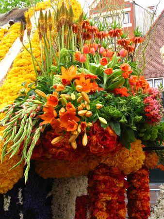 Flower arrangement on flower parade float photo