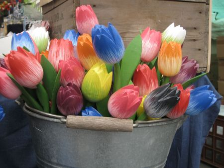 wooden tourist tulips photo