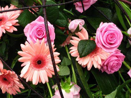 Flower arrangement in pink photo