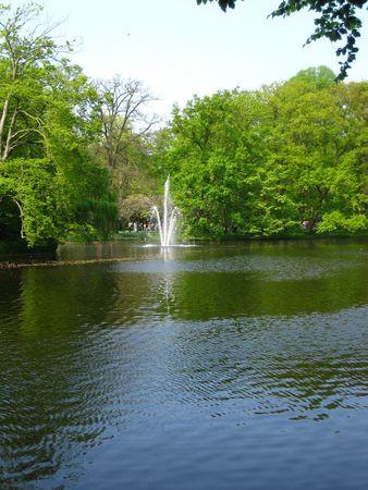 show garden: Fountain in a park