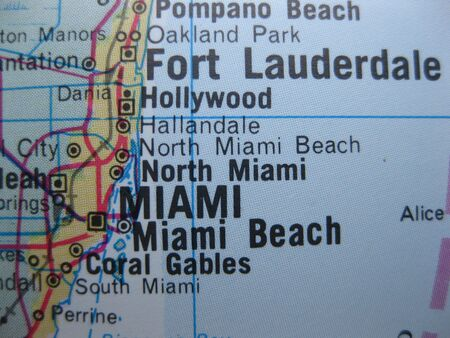 American cities on map: Miami Stock Photo - 4801960