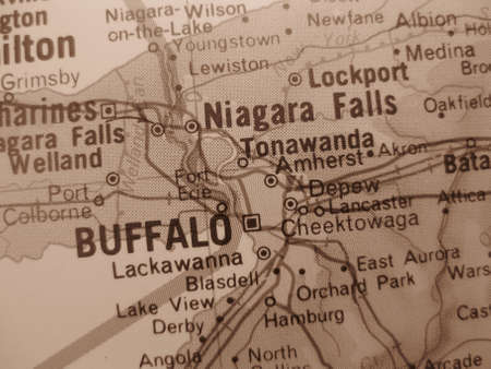 American cities on map: Buffalo NY in sepia photo