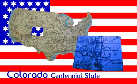 American flag and map: Colorado, centennial state photo