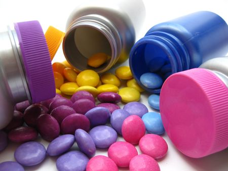 longevity drugs: pills and jars: colorful medication