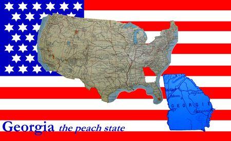 American flag and map: Georgia, the peach state photo