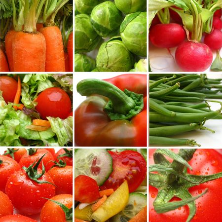 vegetable collage greeting card