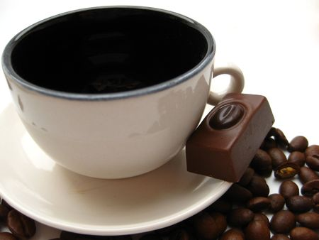 espresso cup and chocolate photo