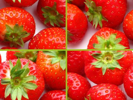Strawberry collage greeting card photo
