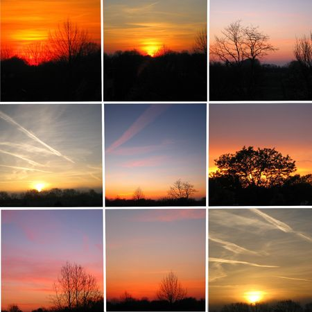 Sunsets and sunrises collage photo