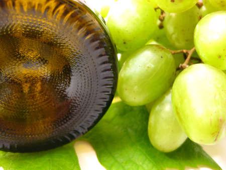 bottle and grapes Stock Photo - 4952572