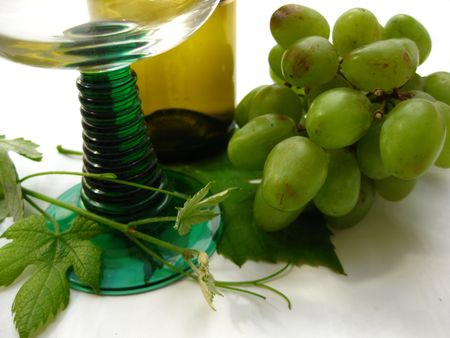 white wine, glass and grapes Stock Photo - 4952604