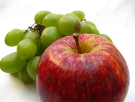 red apple, green grapes photo