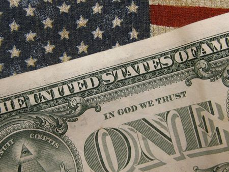 dollar bill over stars and stripes Stock Photo - 4980786