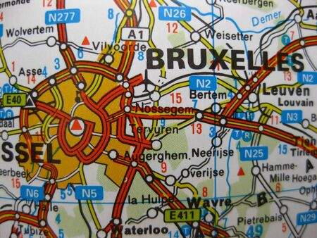 Europe in seven days: map of Brussels, Belgium Stock Photo - 4998412
