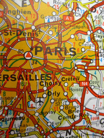 Europe in seven days: map of Paris, France photo