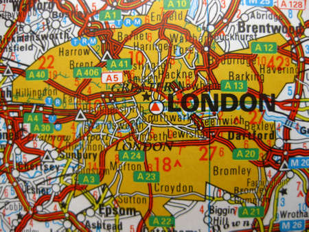 Europe in seven days: map of London, England photo