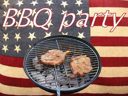 Fourth of July Barbecue party invitation card photo