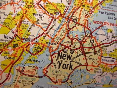 wall maps: Vintage map of New York Stock Photo