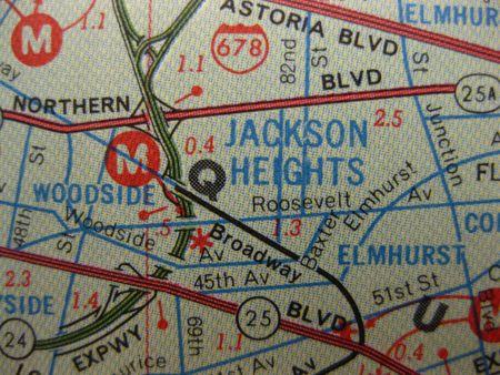 position d amour: Vintage carte de Jackson Heights, Queens, New York Banque d'images