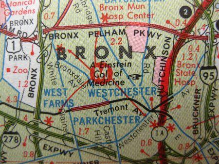 position d amour: Vintage carte du Bronx, � New York