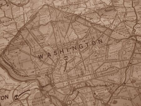 Vintage map of Washington DC in sepia photo