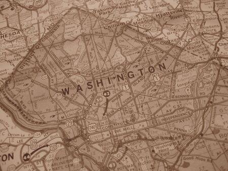 Vintage map of Washington DC in sepia photo