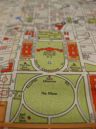 Vintage map of Washington DC, white house photo