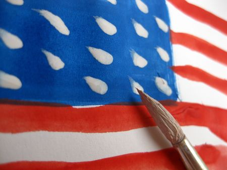 painting the stars on the stripes Stock Photo - 5105640