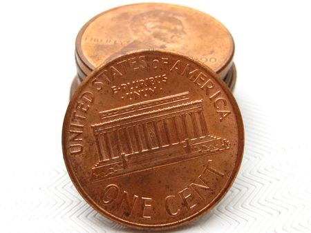 American cents, isolated photo