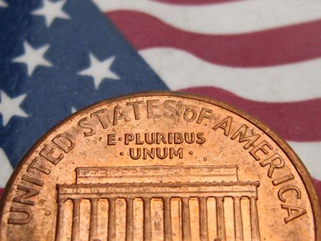 One cent on American Flag photo
