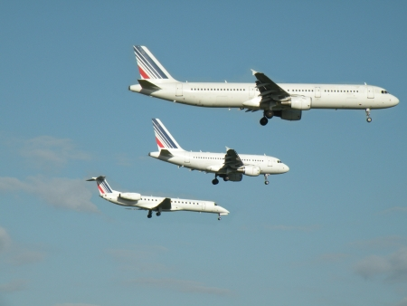 three airplanes in the sky Stock Photo - 5194234